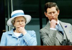 The Queen Elizabeth II and his son the Prince Charles watch the races, the day of the 40th anniversary of the Queen's coronation, 02 June 1993 in Epsom.