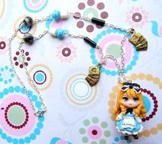 Alice in wonderland necklace with handmade polymer clay charm, Anime jewelry, Kawaii - Use SUMMERBARGAIN coupon code to get a 12% discount by Akindoonline on Etsy https://www.etsy.com/listing/232999066/alice-in-wonderland-necklace-with