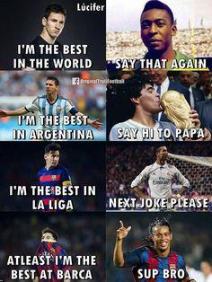 I'm a messi fan but I love when Ronaldinho goes : sup bro Ronaldo Memes, Messi Vs Ronaldo, Messi Fans, Cristiano Ronaldo, Funny Football Memes, Funny Sports Memes, Inspirational Soccer Quotes, Sport Football, Real Madrid