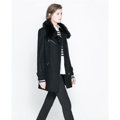 Black zara wool zip coat with fur trim! Black zara wool zip coat with fur trim! Gorgeous Zara Jackets & Coats