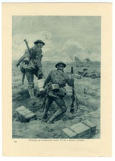"WW1, 1916. "" Bringing up ammunition under fire in a Somme advance."" Drawing by Fortunino Matania. www.sleekburnprints.com"