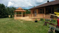 Hexagonal cedar gazebo and deck by Flamborough Patio Garden Structures, Outdoor Structures, Gazebo, Outdoor Spaces, Outdoor Decor, Backyard, Patio, Sunrooms, Decking