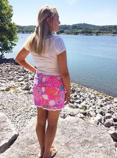 Lilly Pulitzer Michelina Mini Skort shown in Shorely Blue Feeling Tanked via xoashleybarber's Instagram.