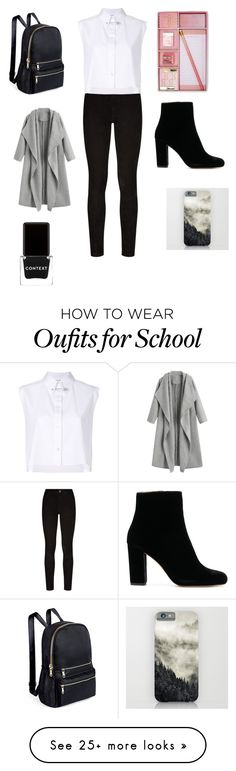 """School"" by elisa-rieker on Polyvore featuring Paige Denim, Helmut Lang, Forever 21, Context, homework, boring and maths"