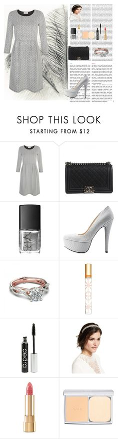 """Silverlight"" by oksana-kolesnyk ❤ liked on Polyvore featuring Seed Design, Hobbs, Oris, Chanel, NARS Cosmetics, Qupid, Tory Burch, Jennifer Behr, Dolce&Gabbana and RMK"