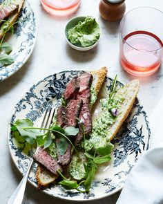 Grilled Steak and Ramp Butter Sandwich with Pea Shoots — Kitchen Repertoire