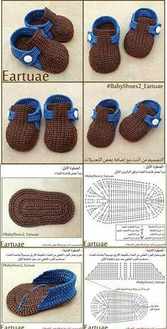 Crochet baby shoes for your newborn Crochet baby shoes, the baby … - Her Crochet - Sandalias para bebé de ganchillo - Booties Crochet, Crochet Baby Boots, Crochet Baby Sandals, Knit Baby Booties, Newborn Crochet, Crochet Slippers, Crochet Hats, Crochet Wrap Pattern, Crochet Patterns