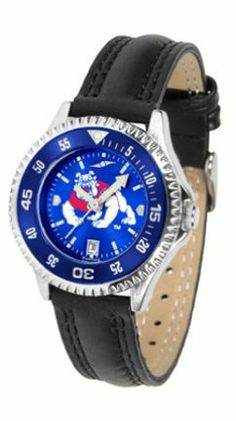 Fresno State Bulldogs Competitor Ladies AnoChrome Watch with Leather Band and Colored Bezel by SunTime. $85.45. Showcase the hottest design in watches today! A functional rotating bezel is color-coordinated to compliment the NCAA Fresno State Bulldogs logo. A durable, long-lasting combination nylon/leather strap, together with a date calendar, round out this best-selling timepiece.The AnoChrome dial option increases the visual impact of any watch with a stunning ra...