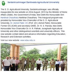 Inauguration of the new Website of SDAU http://www.sdau.edu.in/