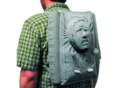 "Stuff all your gear inside a ""Star Wars"" backpack with Han Solo's frozen face sticking out, waiting to be rescued."