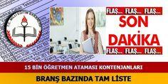 2015 Şubat 15 bin Atama Kontenjanları
