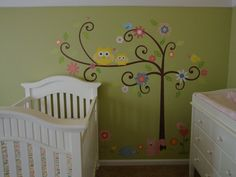 roomMates scroll tree crib sheet | ... tree tops zutano owls fitted crib sheet kids line dena happi tree lamp