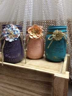 Girly painted mason jar trio! Used in shabby chic home!