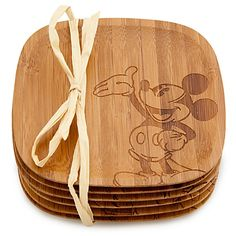 Bamboo Mickey Mouse Coaster Set -- 6-Pc. #kitchen #dining #disney