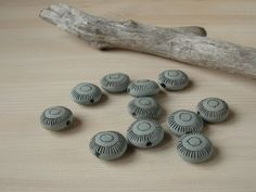 Set of 5 blue ceramic glazed beads with handcarved by warmceramics, €6.00