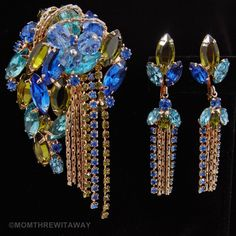 Dazzling Vintage Chunky Blue Green RHINESTONE Crystal BROOCH Pin DROP EARRINGS