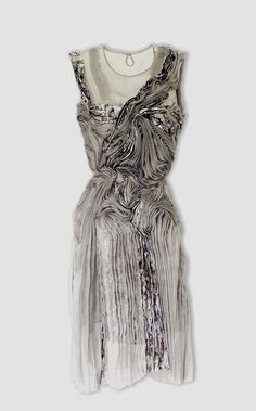Grey Cocktail Dress | Exquisite handwork + draping |  Marit Fujiwara