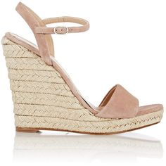 Barneys New York Women's Fania Platform Wedge Sandals ($250) ❤ liked on Polyvore featuring shoes, sandals, wedges, nude, slingback sandals, wedges shoes, high heel wedge sandals, nude sandals and high heel platform sandals