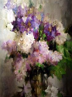 The whole life of Nikolai Blokhin is closely connected with the St. Petersburg Academic Institute of Painting, Sculpture and Architect. Acrylic Flowers, Abstract Flowers, Watercolor Flowers, Watercolor Paintings, Floral Paintings, Art Floral, Lilac Painting, Flower Artists, Still Life Art
