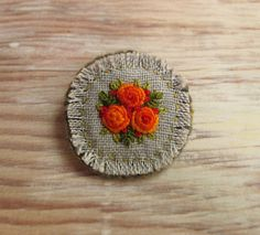 Orange Roses Hand Embroidered Brooch Pin by Sidereal on Etsy, $25.00