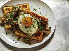 Buttermilk Cornmeal Waffles with Mushroom-Herb Gravy and Fried Egg