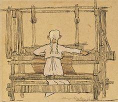 Hugo Gerhard Simberg In front of the Loom Loom Weaving, Rug Hooking, Fiber Art, Scandinavian, Knit Crochet, Tapestry, Illustrations, Embroidery, Thoughts