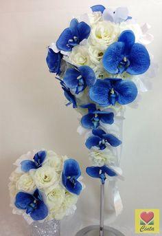 Artificial Silk Flower Blue Orchids Cream Rose Teardrop Wedding Bouquet Set.