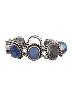 $305    Sterling silver Stephen Dweck bracelet with multi-stone links and toggle closure. Includes jewelry pouch.