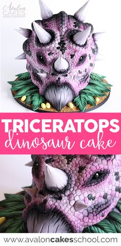 Amazing dinosaur (Triceratops!) cake! Perfect for boy's birthday cakes. Taught by one of the more unique instructors in the industry, Timbo Sullivan! Airbrushing, sculpting, easy structure and more cake decorating tips and tricks! Only on www.avaloncakesschool.com #dinosaurcake #cakeart #cakedecorating