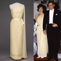 Nadire Atas on Jacqueline Kennedy Onassis Jackie Kennedy's yellow gown by Oleg Cassini Jackie Kennedy Wedding, Jackie Kennedy Style, Jacqueline Kennedy Onassis, Lou Fashion, 1960s Fashion, Timeless Fashion, First Lady Portraits, Marilyn Monroe, Jaqueline Kennedy