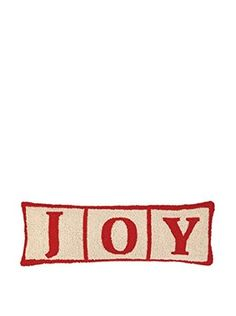 Peking Handicraft Joy Christmas Blocks Lumbar Pillow, Red