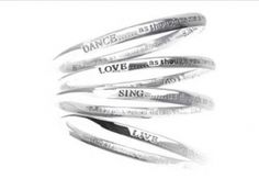 Bangle Silver Live Love Dance Sing