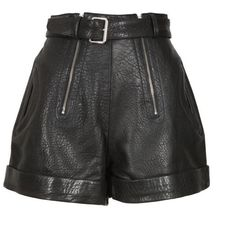 Carven Black Cracked Leather Shorts (1.580 RON) ❤ liked on Polyvore featuring shorts, bottoms, short, zipper shorts, short shorts and embellished shorts