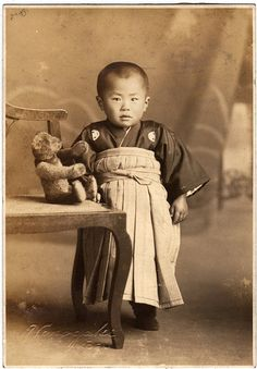 +~+~ Antique Photograph ~+~+ Adorable Japanese boy with his teddy bear. +~+~ Antique Photograph ~+~+ Adorable Japanese boy with his teddy bear.