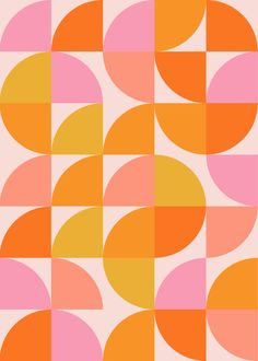 Mid Century Mod Geometry in Pink and Orange Mini Art Print by apricot+birch - Wi. - Mid Century Mod Geometry in Pink and Orange Mini Art Print by apricot+birch – Without Stand – 3 - Orange Comforter, Orange Duvet Covers, Orange Art, Orange Pink, Mid Century Modern Art, Mid Century Wall Art, Poster S, Geometric Art, Retro Vintage