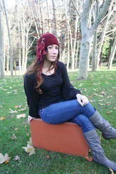 Secret Garden Felted Flower Hat Red Maroon Garnet by SundialArts