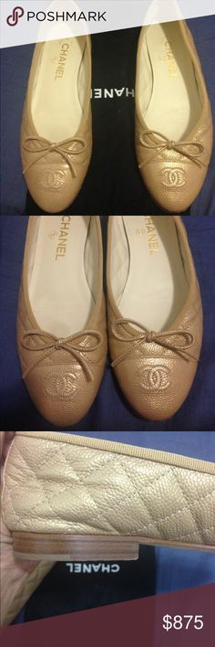 💯 Auth. Chanel Pearl Gold Patent Leather Flats These CC logo bow ballet ballerinas flats came out in 2015! They are a classic and can be worn with any outfit! The leather is in excellent condition! The soles are leather so no matter how many times you wear them (only worn twice) you will see the wear. I have another pair and they do last a long time though. Chanel Shoes Flats & Loafers