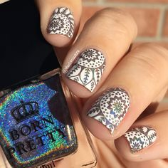 thedotcouture Bornprettystore Holographic Polish (ID 35869) Stamped Over White Using Plate BP-L052 (ID 36310)