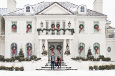rachel-parcell-home-tour-white-painted-brick-home-traditional-christmas-decor-dormer-windows-white-shutters - The Glam Pad Gracie Wallpaper, White Shutters, Dormer Windows, Christmas Home, Merry Christmas, Christmas Island, Christmas Vacation, Christmas Cookies, Exterior Christmas Lights