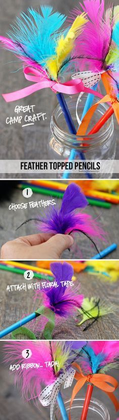 Super fun Summer Camp craft for kids! Feather Topped Pencils.