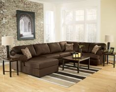 MAINZ - Large Modern Chocolate Microfiber Living Room Sofa Couch Sectional Set #ad