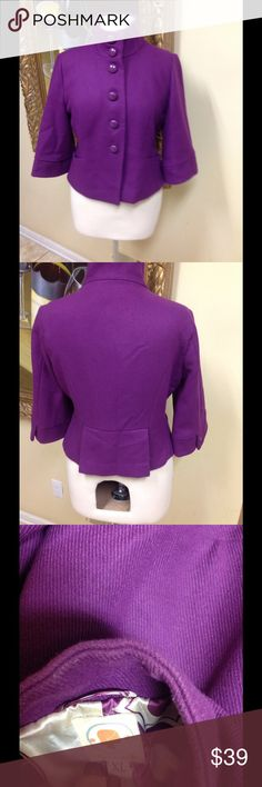 Anthropologie TULLE Jacket Stunning retro purple short button down Anthropologie TULLE jacket XL. Runs a little fits more like a large, beautiful color, great condition, low price. Tulle Jackets & Coats Blazers
