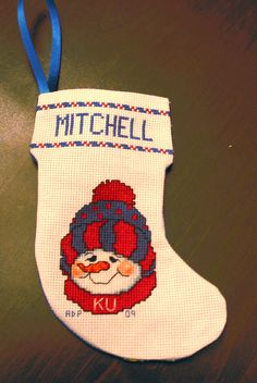 4X6 Personalized counted cross stitch Christmas Stocking.Proceeds donated to Carter's Kids,Fighting Childhood Obesity by Building Playgrounds across America. $20.00