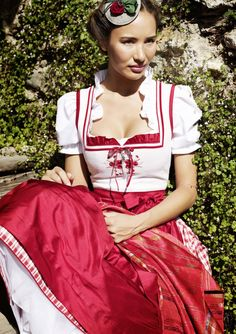 Sportalm Dirndl Obertraun, Gerti blouse, petticoat Katinka - summer white dirndl, embroidered red, with red plaid skirt and red apron.