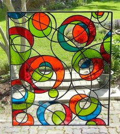 This would wake me up in the morning! colorful squiggles stained glass