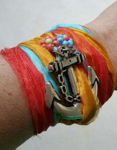 Colorful wristband with beads and anchor detail