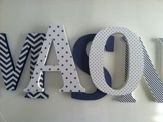 painted wood letters for nursery in shades of blue | Add it to your favorites to revisit it later.