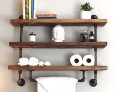 pipe shelf Bathroom shelves Kitchen shelves Entryway shelf S . Industrial Pipe Shelves, Industrial Bathroom, Wood Bathroom, Industrial House, Bathroom Shelves, Kitchen Shelves, Wood Shelves, Small Bathroom, Floating Shelves