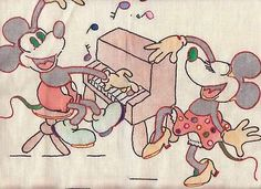 1930's tinted and embroidered Mickey and Minnie Mouse pillow top.  Mickey plays the piano while Minnie Dances.