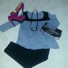 Selling this Grey and Black Shirt in my Poshmark closet! My username is: kristin_b. #shopmycloset #poshmark #fashion #shopping #style #forsale #New York & Company #Tops